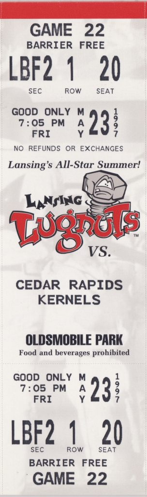1997 Lansing Lugnuts ticket vs Cedar Rapids
