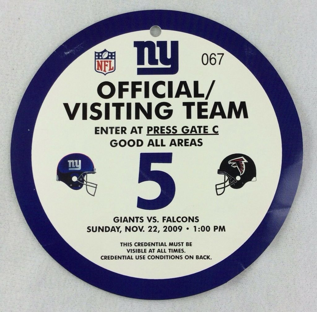 2009 New York Giants Opposing Team Press Pass
