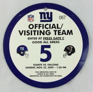 2009 New York Giants Opposing Team Press Pass 11