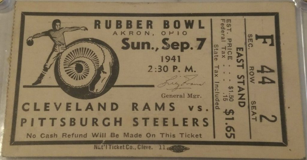 1941 Cleveland Rams ticket stub vs Pittsburgh in Akron
