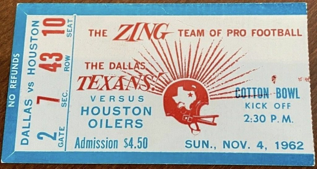 1962 AFL Dallas Texans ticket stub vs Houston