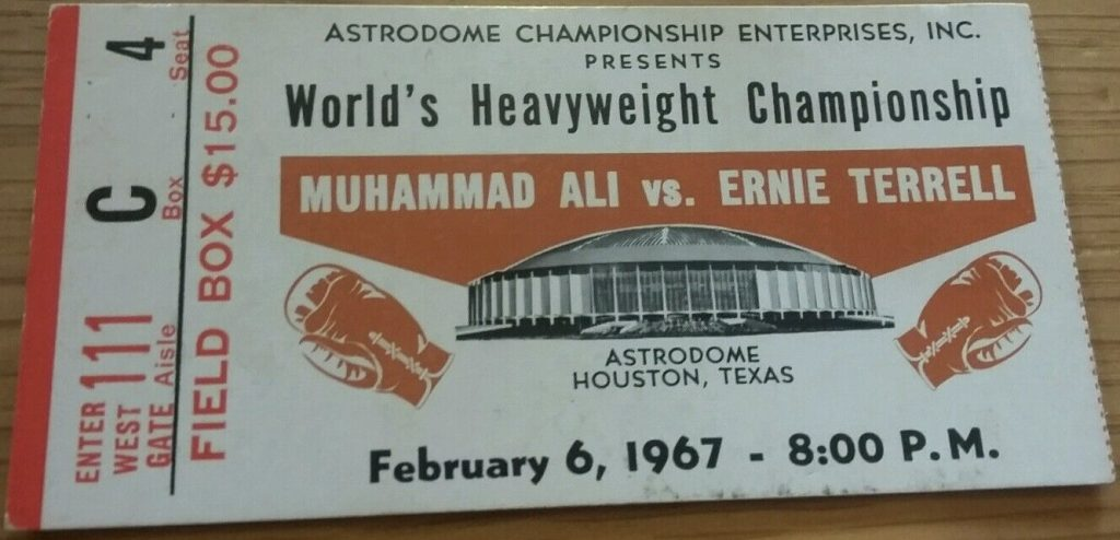 1967 Boxing ticket stub Muhammad Ali vs Ernie Terrell