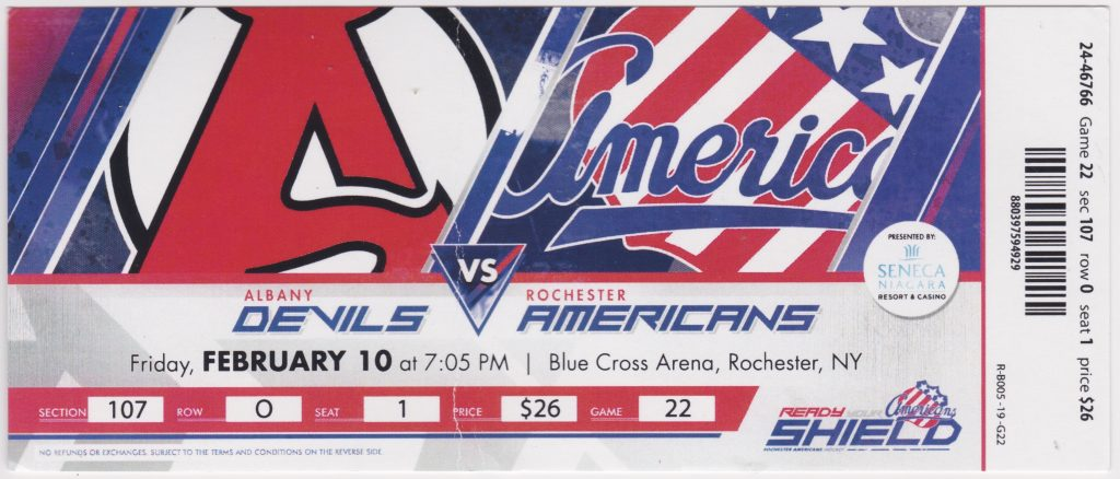 2017 AHL Rochester Americans ticket stub vs Albany