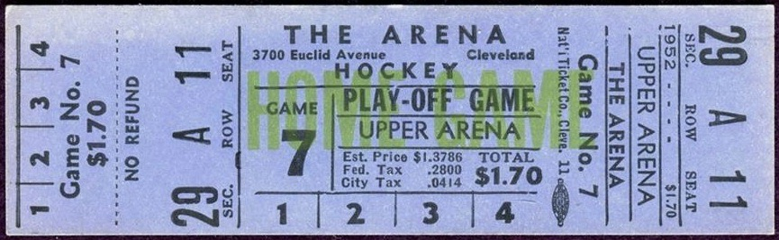 1953 AHL Finals Game 7 unused ticket Cleveland vs Pittsburgh