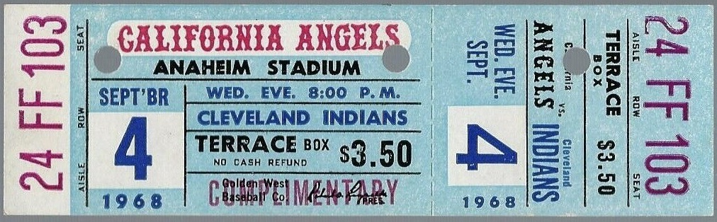 1968 California Angels unused ticket vs Cleveland