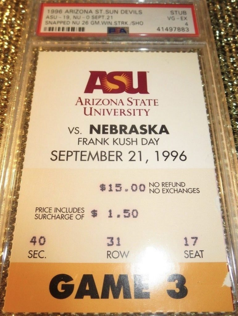 1997 NCAAF Arizona State ticket stub vs Nebraska Pat Tillman
