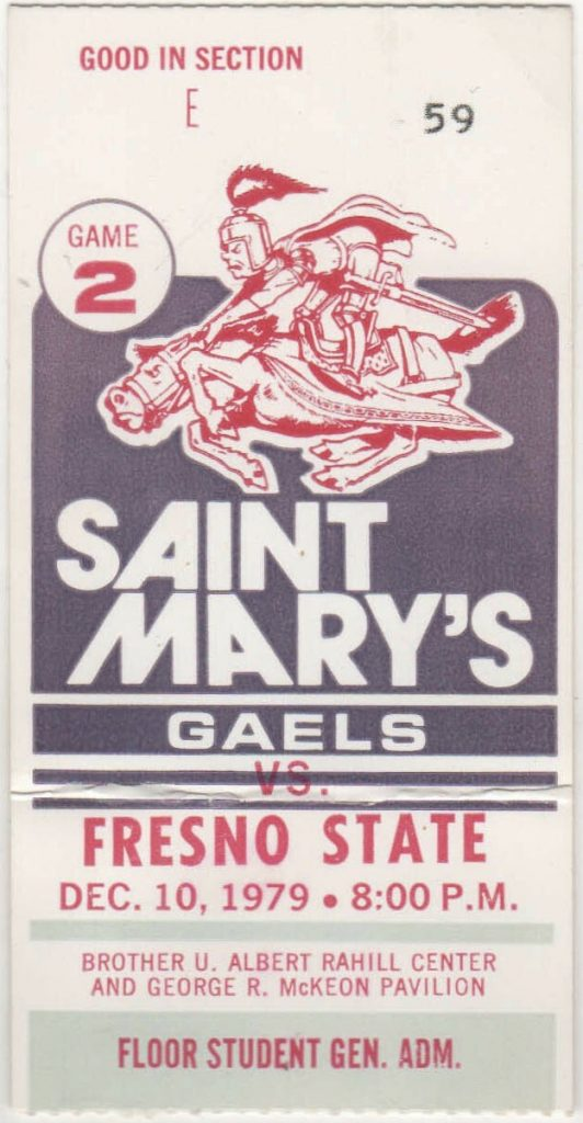 1979 NCAAMB St. Mary's Gaels ticket stub vs Fresno State