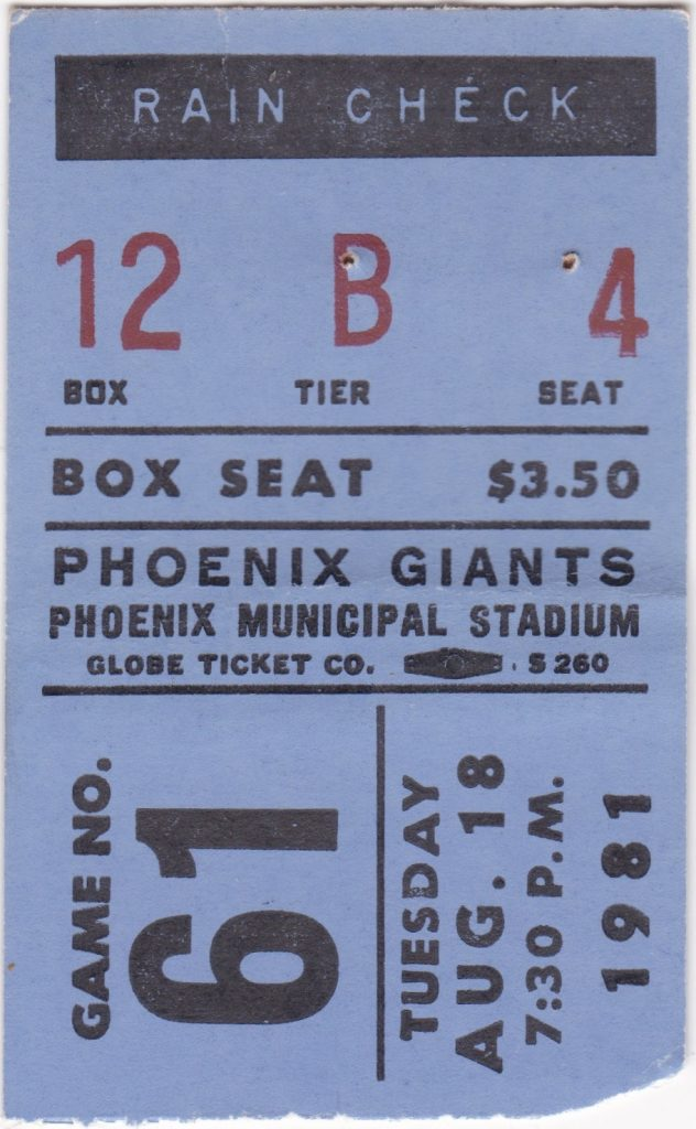 1981 Phoenix Giants ticket stub vs Vancouver Canadians
