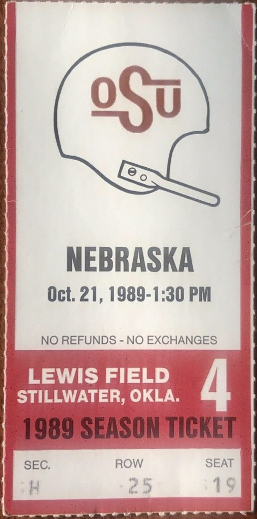 1989 NCAAF Oklahoma State ticket stub vs Nebraska