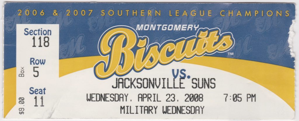 2008 Montgomery Biscuits ticket vs Jacksonville Suns
