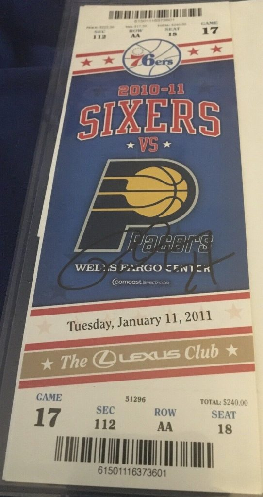 2011 Paul George Autographed ticket stub