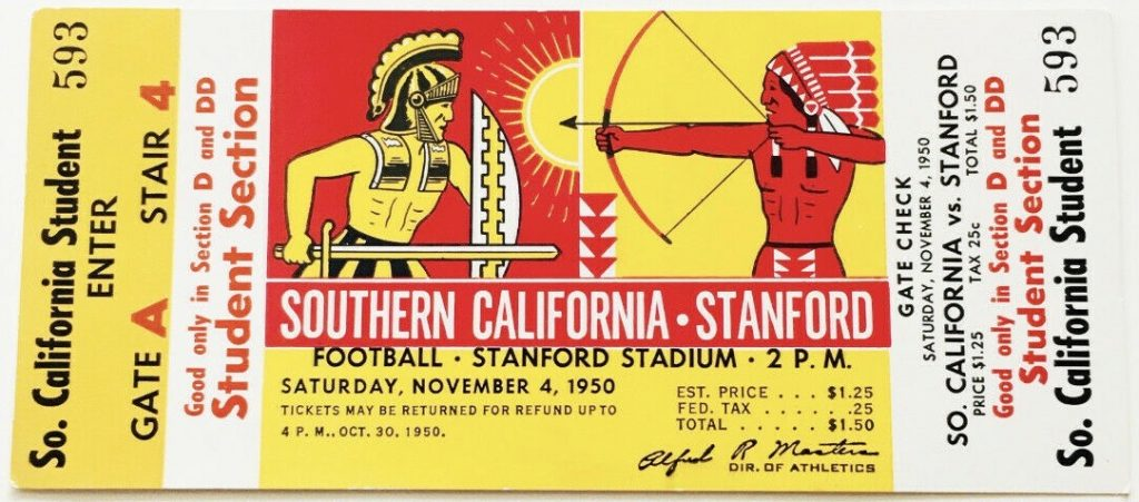 1950 NCAAF Stanford ticket stub vs USC
