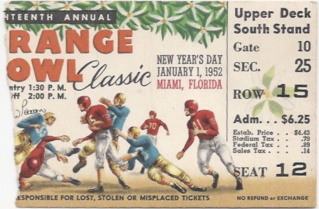 1952 Orange Bowl ticket stub Georgia Tech Baylor