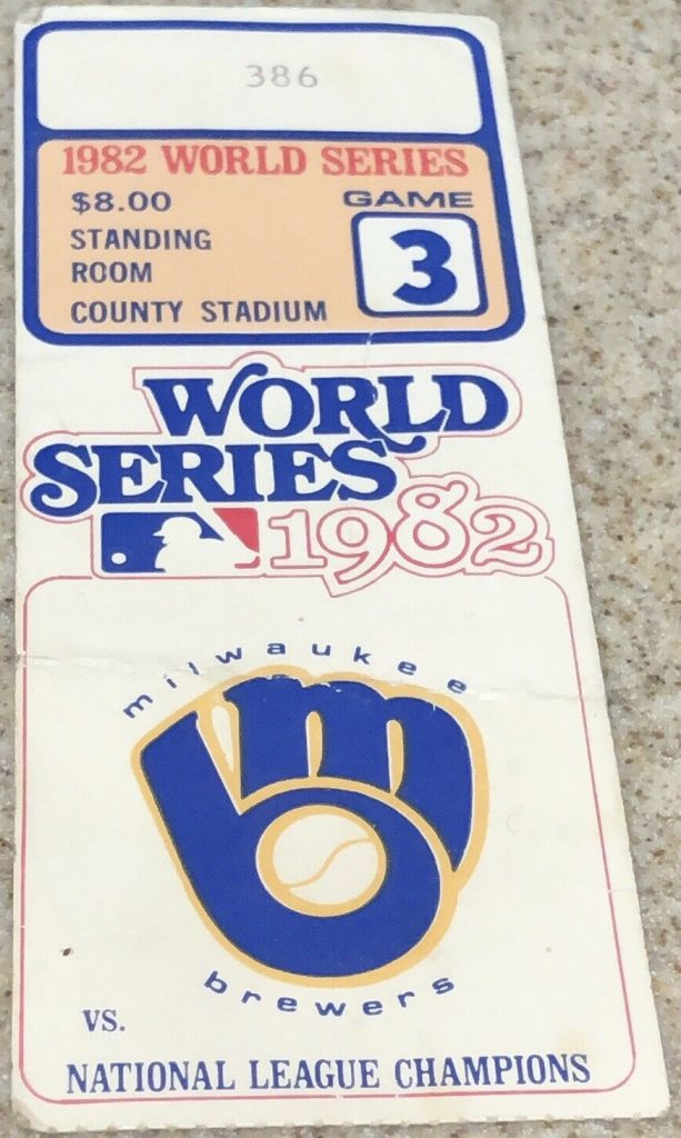 1982 World Series Game 3 ticket stub Cardinals Brewers