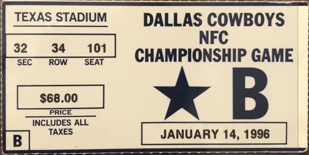 1996 NFC Championship Game ticket stub Green Bay Dallas