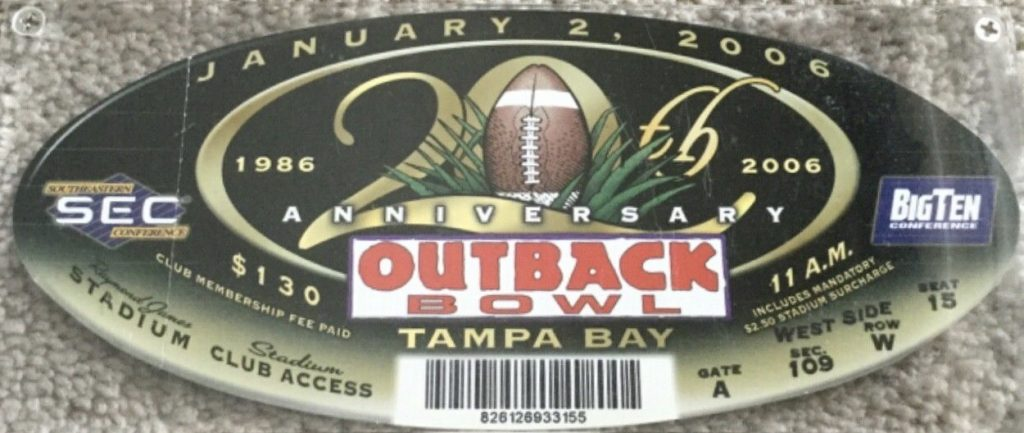 2006 Outback Bowl ticket stub Florida over Iowa