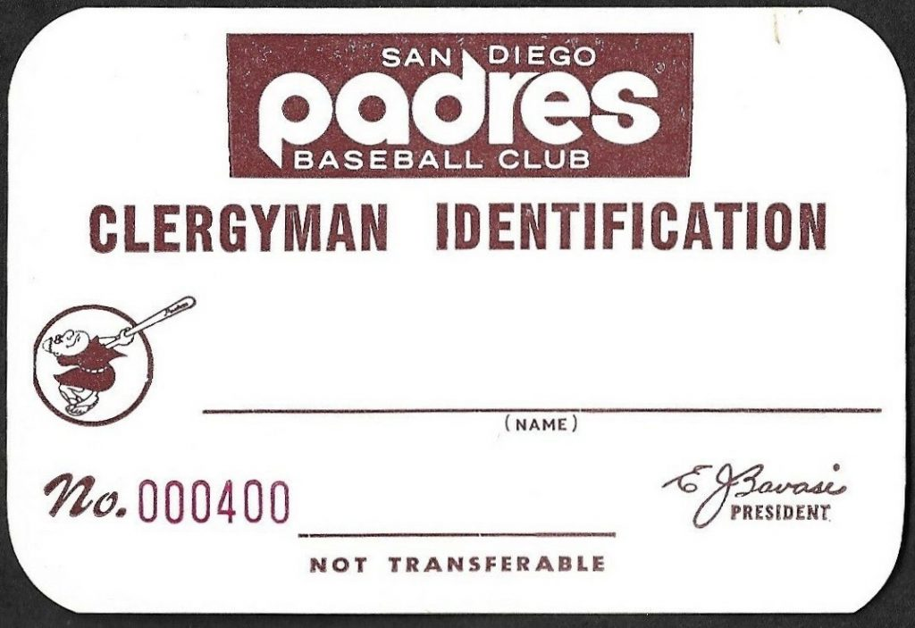 San Diego Padres Clergy Pass