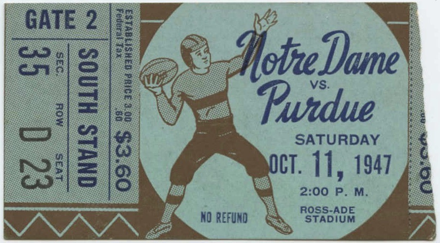 1947 NCAAF Purdue Boilermakers ticket stub vs Notre Dame