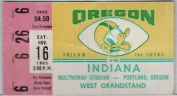 1963 NCAAF Oregon Ducks ticket stub vs Indiana