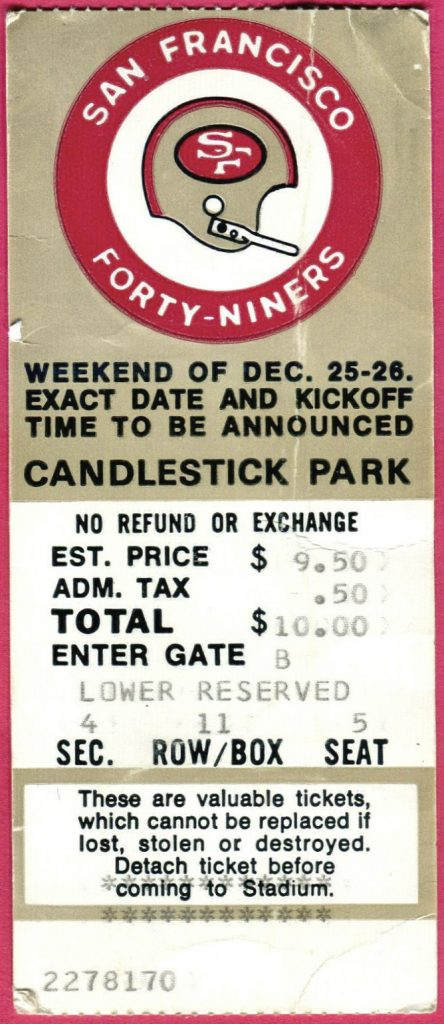 1971 NFC Divisional Game ticket stub Redskins 49ers
