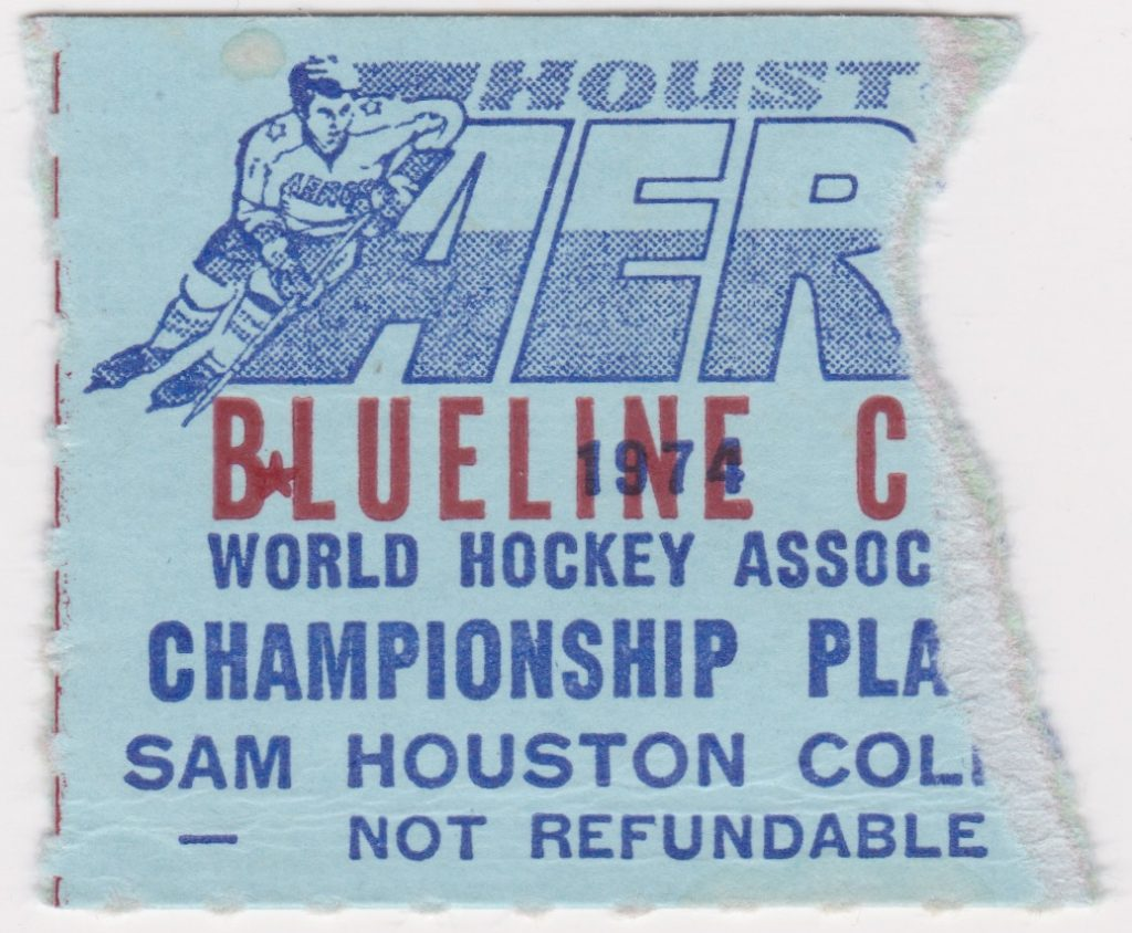 1974 WHA AVCO Cup Final ticket stub Houston Aeros vs Chicago