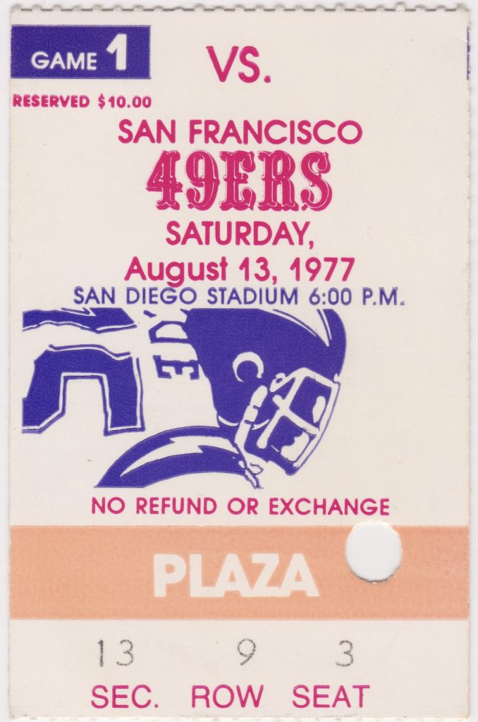 1977 San Diego Chargers ticket stub vs 49ers
