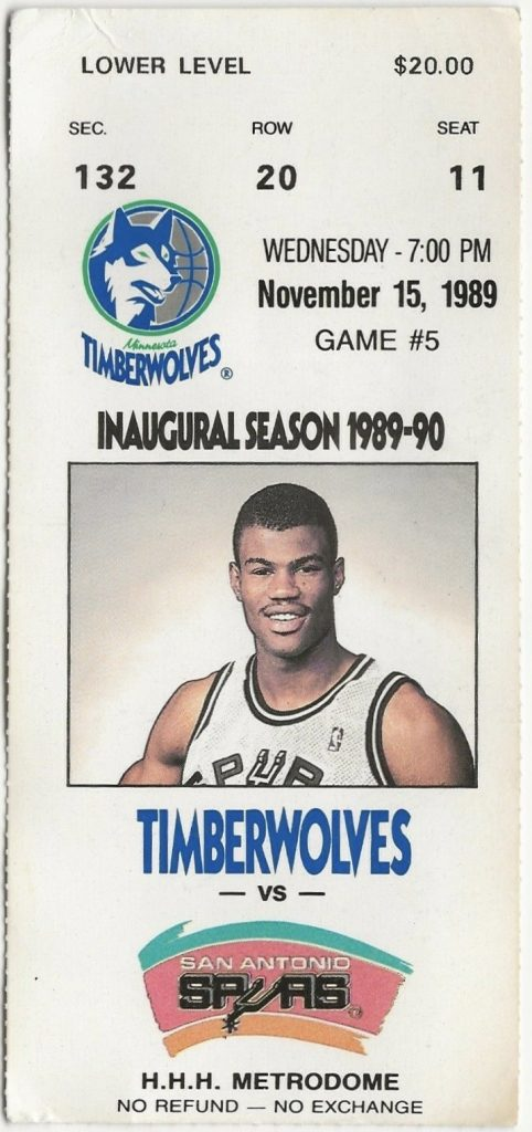 1989 Minnesota Timberwolves ticket stub vs Spurs