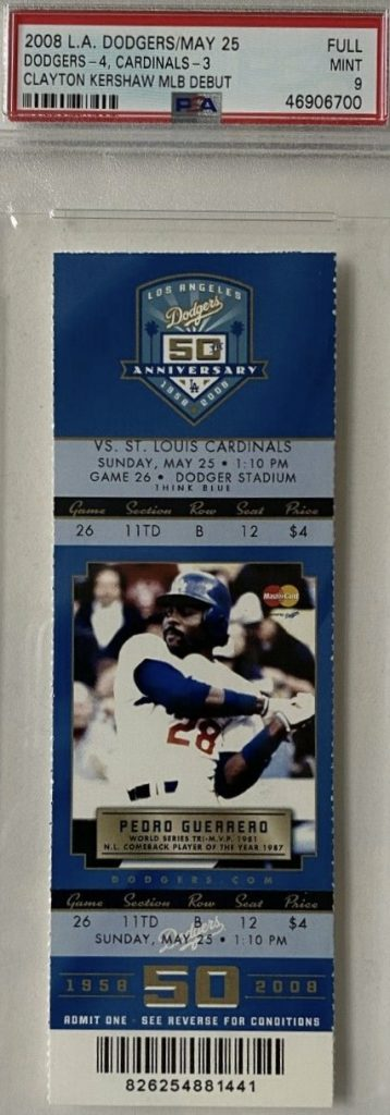 2008 Clayton Kershaw MLB debut ticket stub