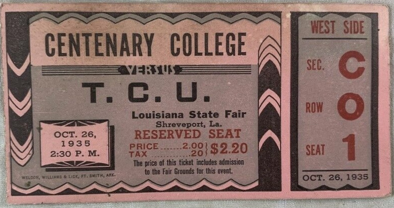 1935 NCAAF Centenary Gents ticket stub vs TCU