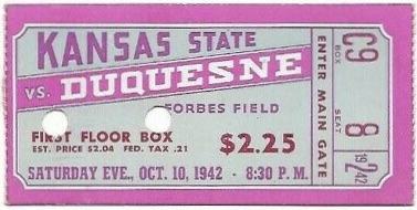 1942 NCAAF Duquesne ticket stub vs Kansas State