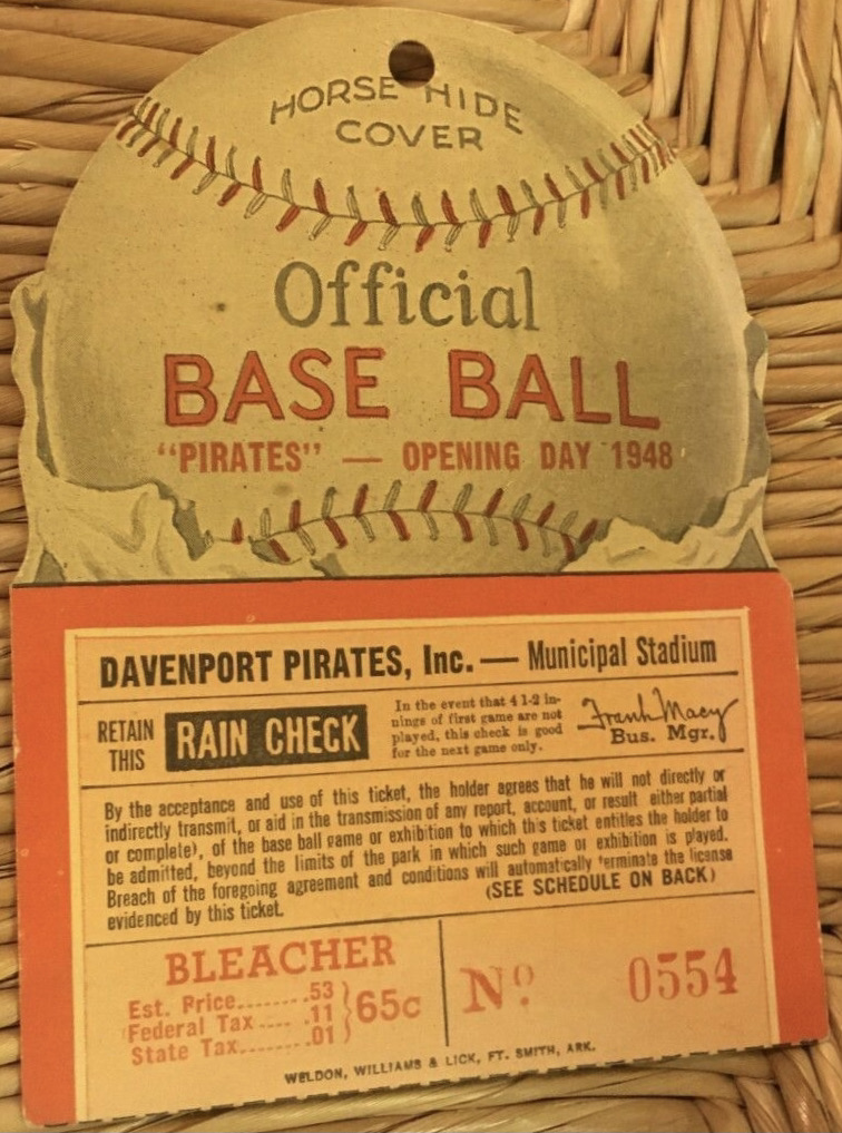 1948 Davenport Pirates Die Cut Opening Day ticket stub vs Waterloo