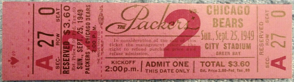 1949 Green Bay Packers unused ticket vs Chicago