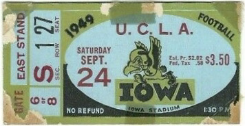 1949 Iowa Hawkeyes ticket stub vs UCLA