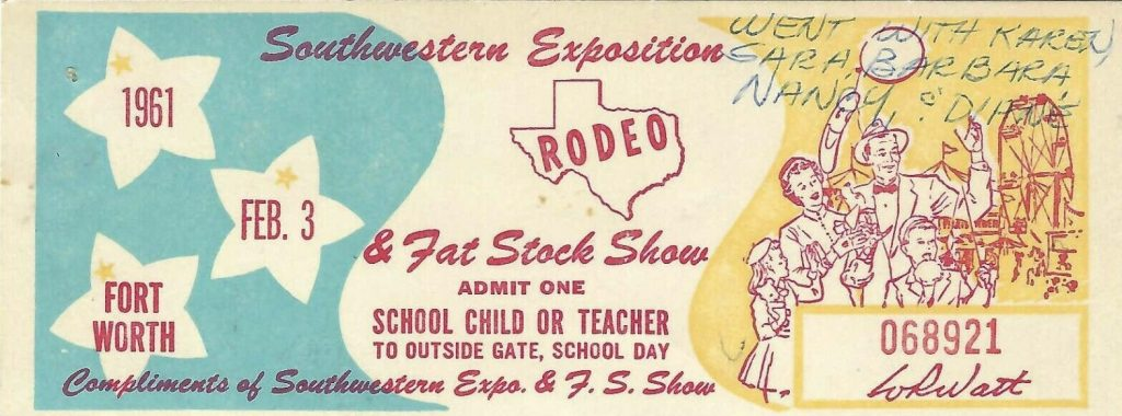 1961 Southwestern Rodeo and Fat Livestock ticket stub