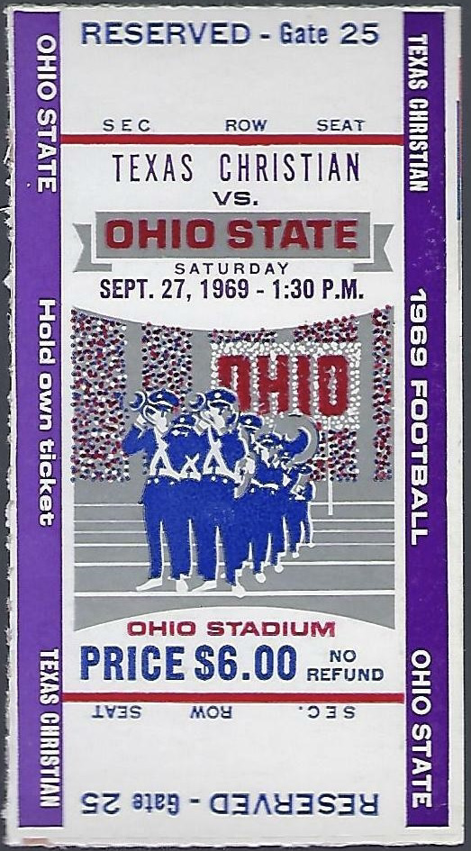 1969 NCAAF Ohio State Buckeyes ticket stub vs TCU