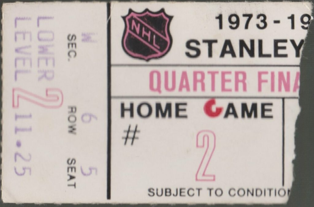 1974 Philadelphia Flyers Playoffs Game 2 ticket stub vs Atlanta