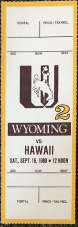 1989 NCAAF Wyoming Cowboys ticket vs Hawaii