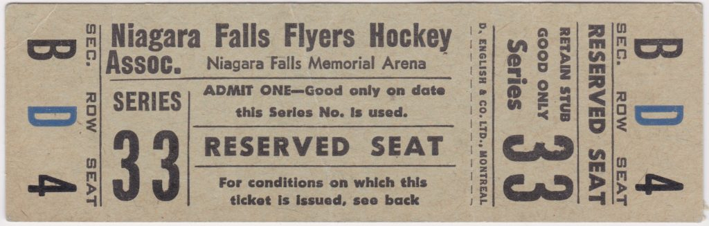 1964-65 Niagara Falls Flyers unused ticket