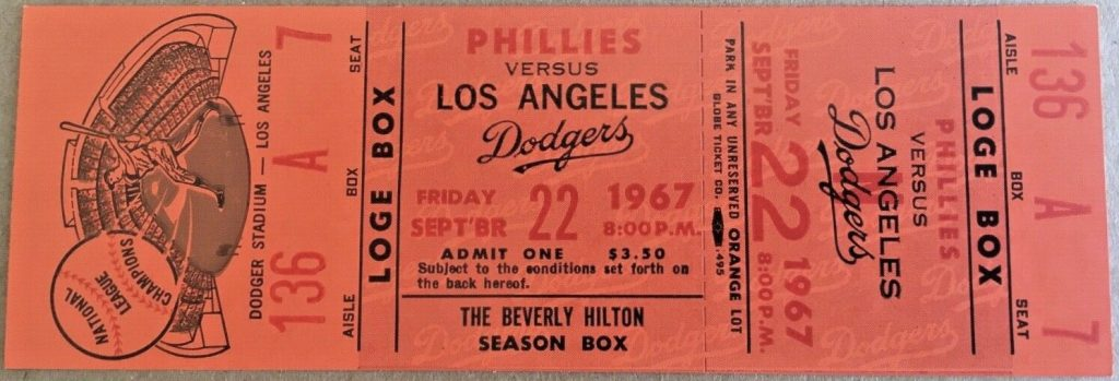 1967 Don Sutton 23rd Win ticket stub