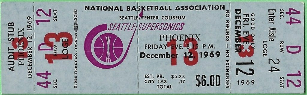1969 Seattle SuperSonics unused ticket vs Phoenix