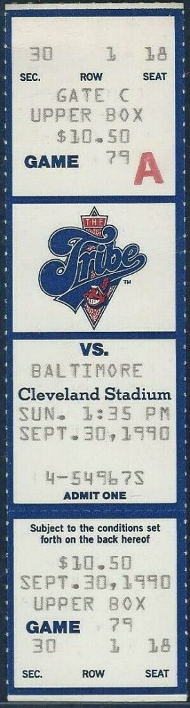 1990 Cleveland Indians unused ticket vs Baltimore