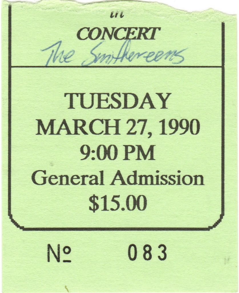 1990 Smithereens ticket stub Augusta GA