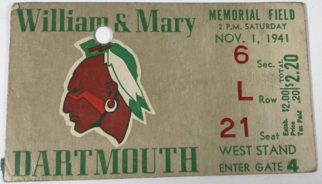 1941 NCAAF William and Mary Ticket Stub vs Dartmouth