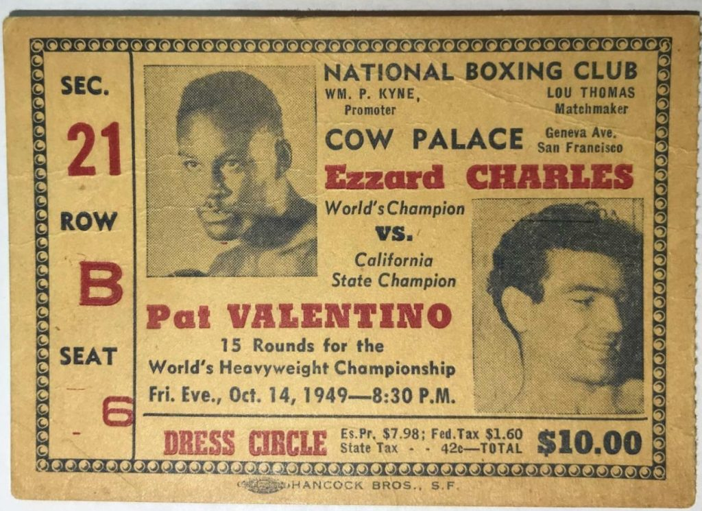 1949 Boxing ticket stub Charles vs Valentino Cow Palace