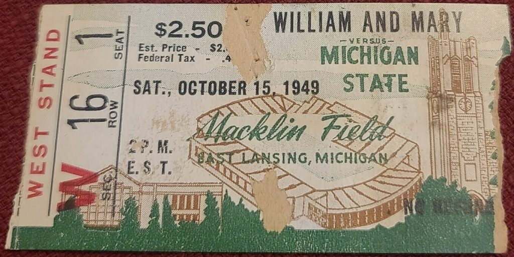 1949 NCAAF Michigan State Spartans ticket stub vs William and Mary