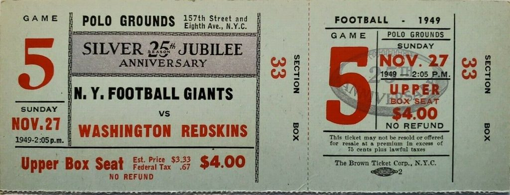 1949 New York Giants unused ticket vs Washington