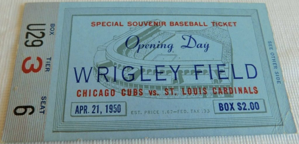 1950 Cubs Opening Day ticket stub