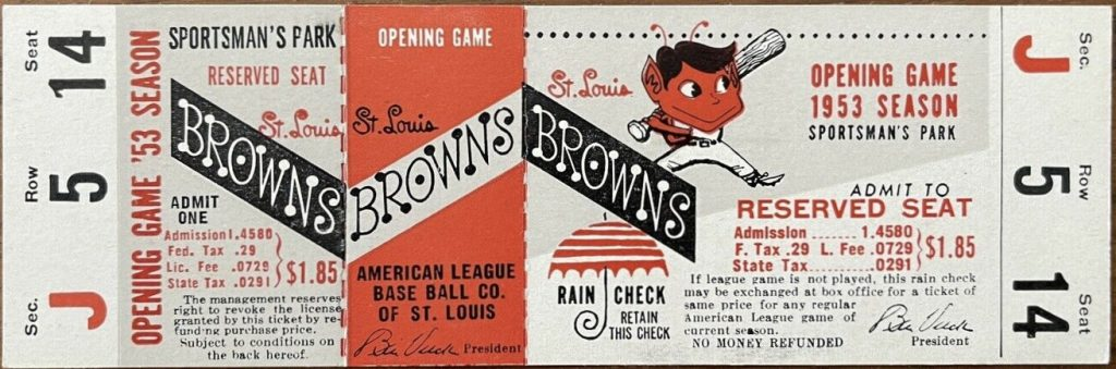 1953 St. Louis Browns unused Opening Day ticket