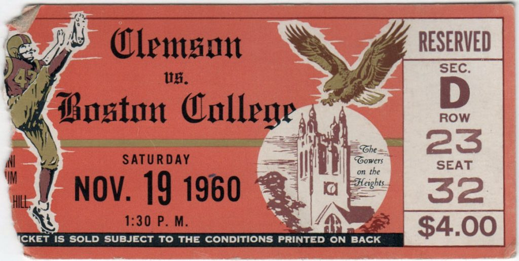 1960 NCAAF Boston College unused ticket vs Clemson