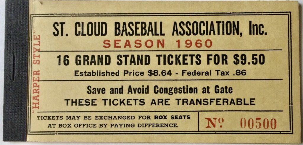 1960 St Cloud Rox Ticket Booklet